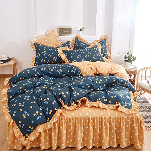unknow Bed Skirt, Four-Piece Small Floral Bed Skirt, Thick Single Double Bed And Single Duvet Cover, Simple And Cute Bedding