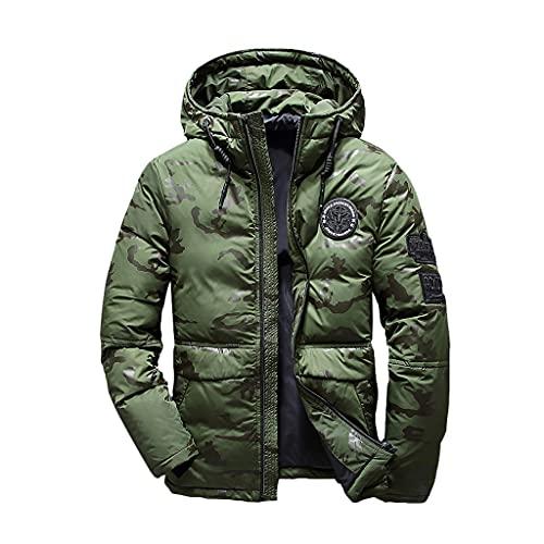 SCDZS Chaqueta de invierno para hombre, diseño de pato blanco, cortavientos, impermeable, con capucha, gruesa, cálida chaqueta de esquí (color: B, tamaño: XXL)