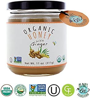GREENBOW Organic Honey with Ginger - 100% USDA Certified Organic, Gluten Free, Non-GMO Organic Ginger Honey - Highest Quality Whole Food Organic Ginger Honey – 11oz (311g)
