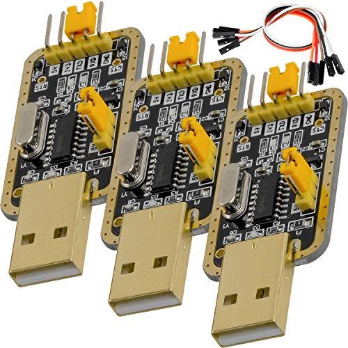AZDelivery 3 x UART-TTL USB Adapter mit CH340G Konverter für 3.3V und 5V mit Jumperkabel und inklusive E-Book!
