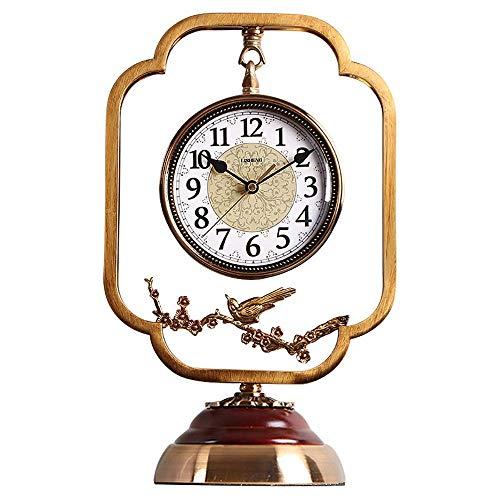 Relojes De Sobremesa, Reloj De Chimenea, Reloj De Escritorio Retro, Diseño Silencioso, Hecho De Metal, Reloj Clásico con Pilas, para Decoración De Sala De Estar, Colección Antigua (Color: Azul)
