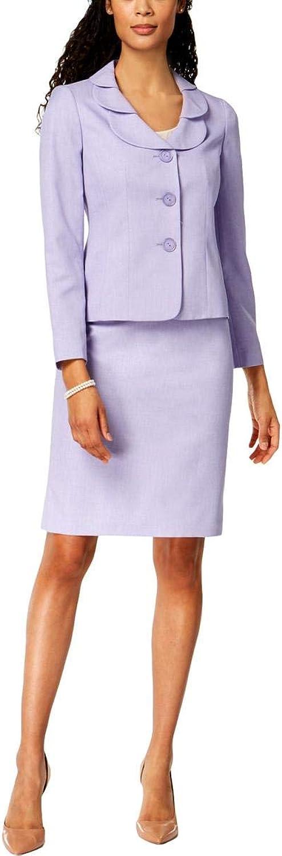Le Suit Womens Petal Collar Business Skirt Suit Purple 12