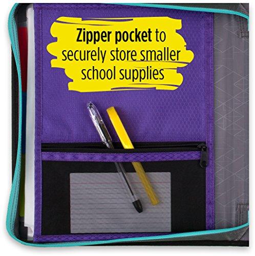 Five Star Zipper Binder, 2 Inch 3 Ring Binder, Removable File Folders, Durable, Teal (73287) Photo #4