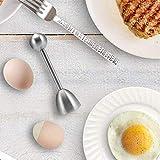 Queta Pelador de Huevos Hervidos con Resorte, Abridor de Huevos Hervidos, Acero Inoxidable, Huevera + Huevo Cortador