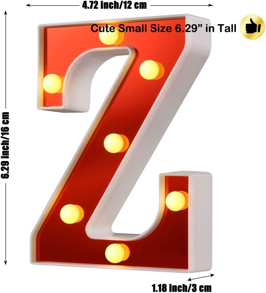 Samapet 1 LED Marquee Letter Lights 26 Alphabet Red Pleasent Indoor Bright Night Lights Sign for Wedding Birthday Party Battery Powered Christmas Night Light Lamp Home Bar Decoration