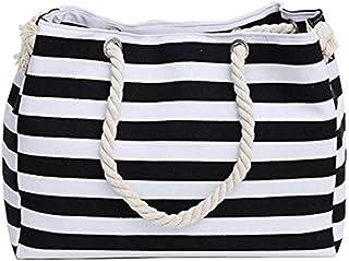 Fliyeong Reisetasche / Einkaufstasche mit Streifenmuster, Segeltuch, Schultertasche, Einkaufstasche für den Außenbereich, ...