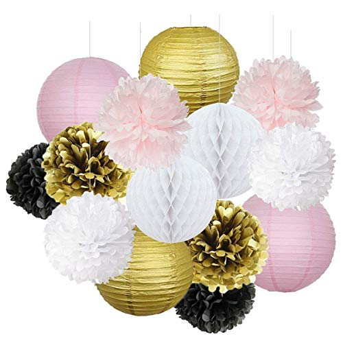 French/Parisian Birthday Party Ideas Pink Gold White Black Paris Party Decorations Tissue Paper Pom Pom Honeycomb Ball/Paper Lantern for Girls' Birthday Decorations Ooh La La Baby Shower Decorations