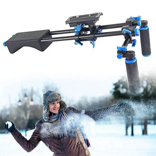 Sistema di film di supporto per impianti a spalla con telecamera/camcorder Mount Slider, tampone in gomma morbida e impugnatura a doppia mano