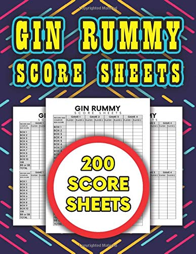 Gin Rummy Score Sheets: 200 score sheets for gin rummy card game lovers