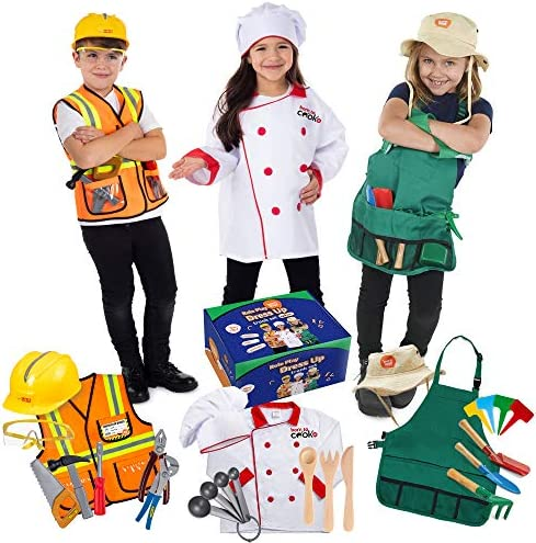 Born Toys Premium 27 Piece Dress Up Clothes for Kids 3 7 Construction Worker with Kids Tool product image