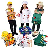 Born Toys Premium 27 Piece Dress Up Clothes for Kids 3-7 Construction Worker with Kids Tool Set,Gardening Costume with Gardening Tools,Chef or Baker with Baking Toys