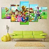 Lienzo decorativo para el hogar, figura de Super Mario Bros, 5 unidades, arte moderno giclée para salón, decoración, impresión fotográfica sobre lienzo, póster sin marco (20 x 30-20 x 40-20 x 50 cm)