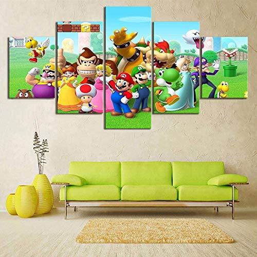 Lienzo decorativo para el hogar, figura de Super Mario Bros, 5 unidades, arte moderno giclée para salón, decoración, impresión fotográfica sobre lienzo, póster sin marco (20 x 35-20 x 45-20 x 55 cm)