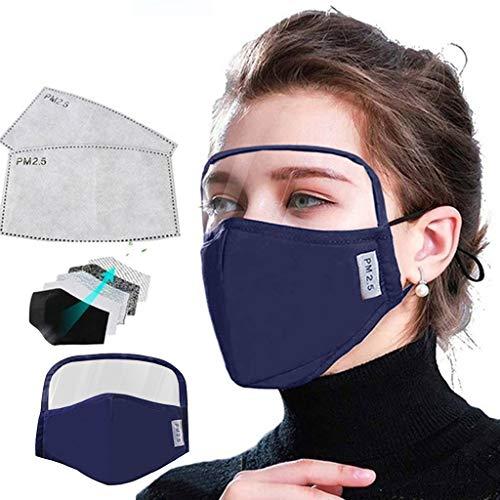 Schutz Shield für Gesichts mit 2PCS Filter Staubschutz Baumwolle und Visier aus Kunststoff Augenschutz Gesichtsschutz Staubfilter Face Cover Motorrad Fahrrad Outdoor Mund-Schutz (2# Blau)