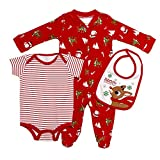 Baby Starters Baby Infant 3-Piece Sleep and Play, Bodysuit, Bib Set, red/Multi/White, 3 Months