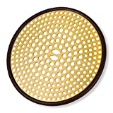 304 Stainless Steel Hair Catcher Shower Drain Cover with Silicone, Shower Stall Drain Strainer, Bathtub Hair Stopper, Bathroom Hair Trap Floor Drain Protector, Brushed Gold Brass 4.33 Inch Round Flat
