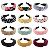 ACO-UINT 12 Pack Knotted Headbands for Women Premium Boho Head Bands Fashion Headbands Women's Top Knot Headbands Bowknot Headbands Diademas for Women