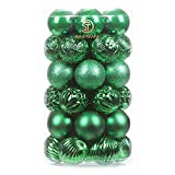 Sea Team 41-Pack Christmas Ball Ornaments with Strings, 60mm/2.36-Inch Medium Size Baubles, Shatterproof Plastic Christmas Bulbs, Hanging Decorations for Xmas Tree, Holiday, Wedding, Party, Green