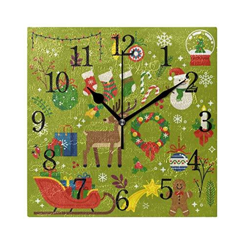 GIGIJY - Reloj de pared cuadrado, diseño de animales, silencioso, sin tictac, decoración para el hogar, salón, cocina, dormitorio, escritorio, oficina, escuela