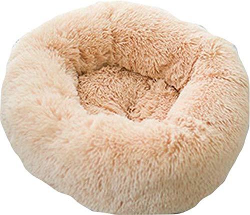 Luxe katten & hondenmand - Donut - Heerlijk zacht - Fluffy Donut - Maat S - 50 cm - Beige