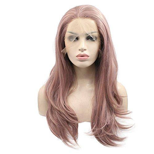 61 cm de long ondulés laiteux Lavande résistant à la chaleur Fibre sans colle naturelle au niveau du corps vague Cheveux Entièrement des Perruques pour femme mixte Rose synthétique Lace Front Perruque
