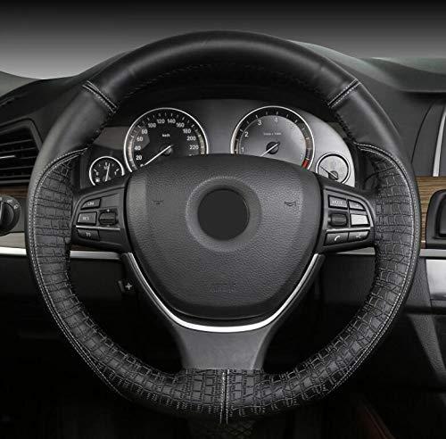 Leer de hand gestikte stuurwiel, steen patroon reliëf auto universele dekking, auto-accessoires, 38cm,C