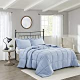 HIG Pre Washed Down Alternative Comforter Set Queen - Reversible Shabby Chic Quilt Design - Box Stitched with 4 Corner Tabs - Lightweight for All Season - Blue Duvet Comforter with 2 Pillow Shams