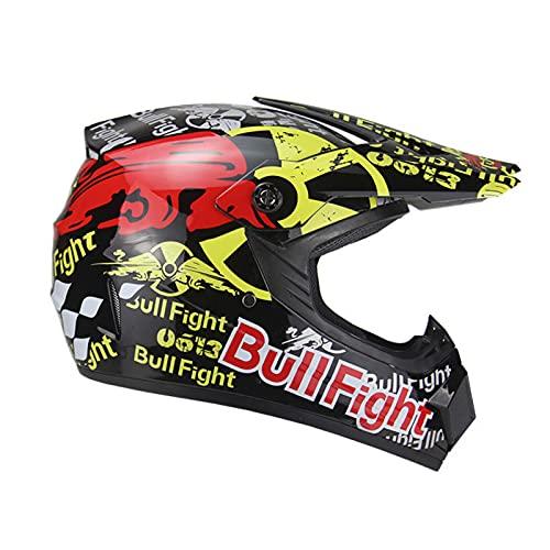XHLLX Unisex Motoccycle Casco Juvenil Casco Cascos para Adultos Jóvenes de Adultos Casco de Carretera con Guantes Máscara Gafas para Motocross ATV MTB Downhill Dirt Bikes BMX y más,Negro,XL