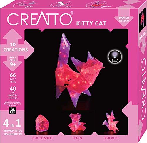 CREATTO Katze, 3D-Leuchtfiguren entwerfen, 3D-Puzzle für Katze, Teddy, Hund oder Haus, gestalte kreative Zimmer-Deko, 68 Steckteile, inkl. 40-tlg. LED-Lichterkette, für Kinder & Erwachsene
