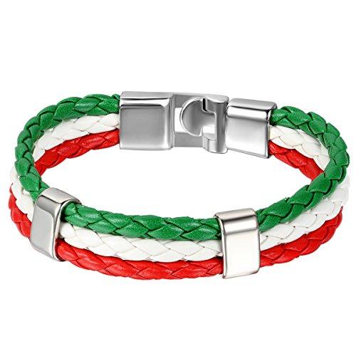 JewelryWe Gioielli Bracciale da Uomo Donna, Bandiera Italia Braccialetto, Pelle Lega, Colorati (con Borsa Regalo)