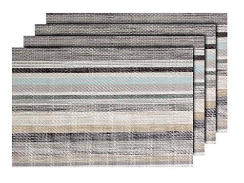 Lot de 4 Sets de Table rayé (TS-109) Design Moderne décoration Sympa de qualité supérieure en PVC tressé: 45 x 30 cm. Le Set de Table a Un bel Aspect avec sa matière tissée et Brillante Élégante