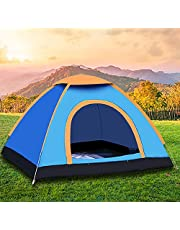 Camping Tent Beach Tent Dome Tent 2 Door Breathable Waterproof UV Protection for Family Outdoor Sports Travel Picnic 3-4 Person Backpacking Big Space Durable(200 * 180 * 130 cm,Blue)