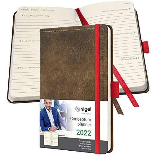 SIGEL C2256 Conceptum agenda semanal 2022 - diseño vintage - mirada de cuero - 9,5 x 15 cm - hardcover - 176 páginas - braun