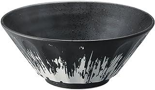 Zen Table Japan Large 50 oz Ramen Noodle, Udon, Pasta, Soup, Donburi Bowl/Serving Bowl Black with Artistic White Paint Scr...