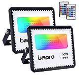 2X30W RGB Foco LED con Control Remoto, Foco Proyector Exteriores Interior IP67 Impermeable LED Reflecto 16 colores 4 modos Luces de Humor para Fiesta Jardín Halloween, Decoración Navideña