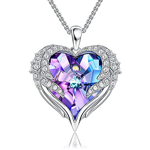 Heart Necklace, Angel Wings Crystal Necklaces For Women Romantic Anniversary Gift For Her Birthday Gifts For Mom Wife Girlfriend Women Necklace Purple