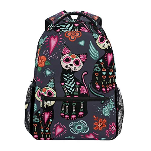 DOSHINE Travel Backpack, Floral Sugar Skull Cat Halloween Shoulder School Bag Daypack for Men Women Boys Girls Kids
