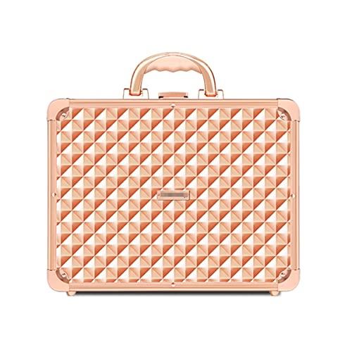 LAXH Caso cosmetico Trucco Organizzatore Box Beauty Storage Case Treno Case Vanity Box con Specchio Bloccabile con Tasti (Color : A)