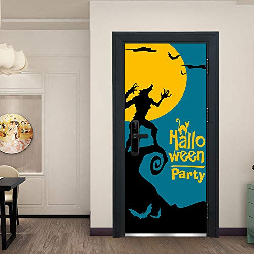 MTHZNN 3D Wallpaper Door Sticker Mural Foil Poster Photo - The Moon Turned Into A Werewolf 77X200Cm Pvc Self-Adhesive Diy Door Art Living Room Study Bedroom Children'S Room Bar Bathroom Office Decora