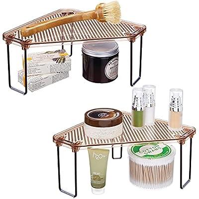 mDesign Corner Plastic/Metal Freestanding Stackable Organizer Shelf for Bathroom Vanity Countertop or Cabinet for Storing Cosmetics, Toiletries, Facial Wipes, Tissues, 2 Pack - Amber Brown/Bronze