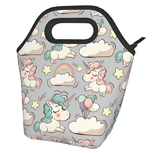 Caja más fresca aislada del bolso del almuerzo portátil de las nubes, del arco iris y de las estrellas para el viaje/la comida campestre/el trabajo/la escuela