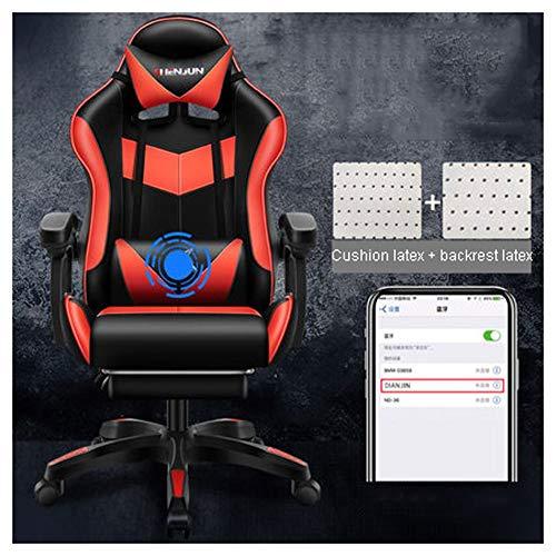 Gamingstuhl Bürostuhl Esports Gaming Chair Gaming Chair Ergonomischer Bürostuhl, PU Chefsesel Computerstuhl Mit Kopfkissen Und Taillenstütze Mit Taillenmassage, Mit Zwei Bluetooth-Lautsprechern