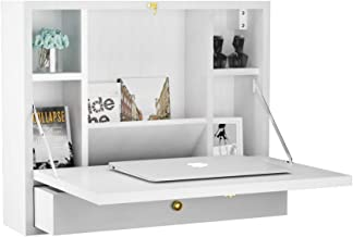 TANGKULA Wall Mounted Table Multi-Function Wall Mount Laptop Desk Writing Desk Home Office Computer Desk with Large Storage Area, Wall Desk (White)