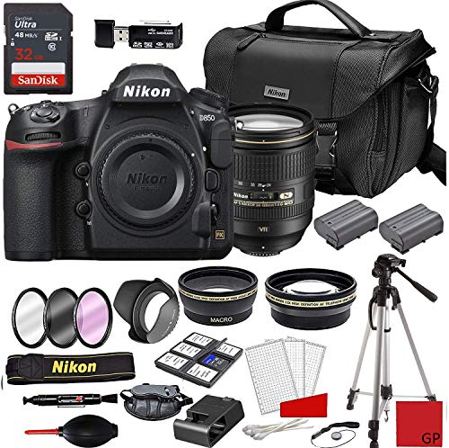 Nikon D850 DSLR Camera with AF-S 24-120mm VR Lens + Deluxe Accessory Kit (2 Battery Bundle)