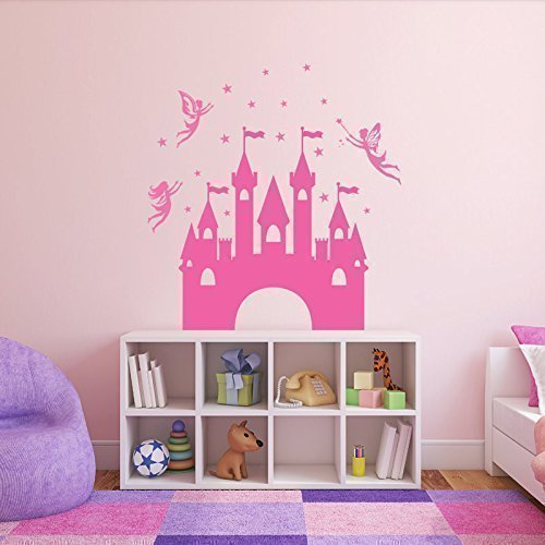 Princess Castle Wall Decals - Personalized, Magical Fairies Vinyl Stickers - Decorate Girls Bedroom, Playroom -