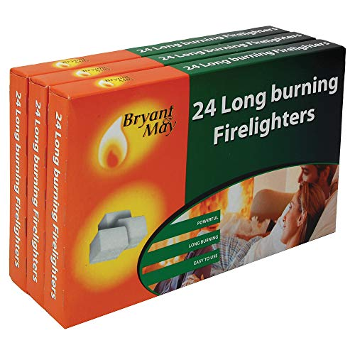 Kapow Gifts Firelighters Bryant & May TRIPLE pack of 72 Long Burning Home Fire Warm Heat