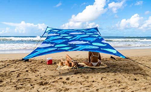 Neso Zelte Strand Zelt mit Sand Anker, Portable Baldachin Sunshade - 2,1m x 2,1m - Patentierte verstärkte Ecken (Color) (Rettet die Wale)