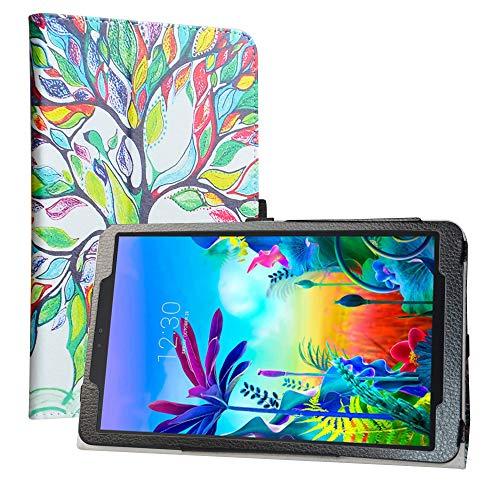 LiuShan Kompatibel mit LG G Pad 5 Schutzhülle, PU-Leder, schmal, faltbar, mit Standfunktion für LG G Pad 5 10.1 T600 Tablet PC (nicht passend für LG G Pad X II 8.0 Plus V530), Love Tree