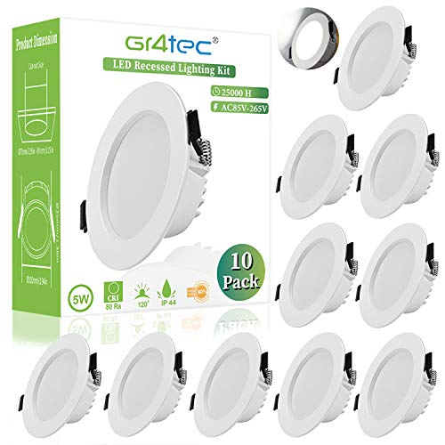 Gr4tec 10 x 5W Focos Led Interior Techo IP44, Blanco Natural 4000K,...
