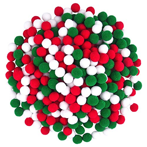 Livder 450 Pieces 0.8 Inch Christmas Pom Poms, Red Green White Pompoms Balls for Xmas DIY, Creative Crafts Decorations